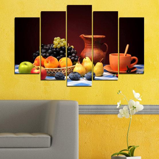 Декоративни панели и картини от канава - от 5 части №0740 » Червен, Жълт, Оранжев, Черен, Бял » Свежест, Кухня, Храна, Много вкусен, Плодове, Здрав Form #1