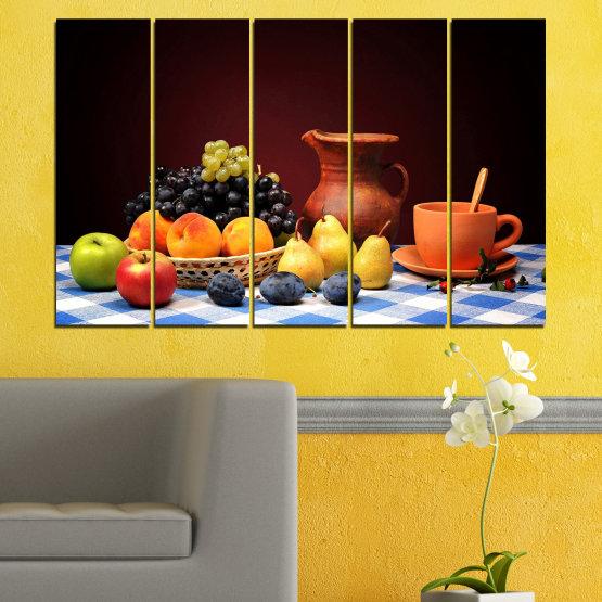Декоративни панели и картини от канава - от 5 части №0740 » Червен, Жълт, Оранжев, Черен, Бял » Свежест, Кухня, Храна, Много вкусен, Плодове, Здрав Form #2