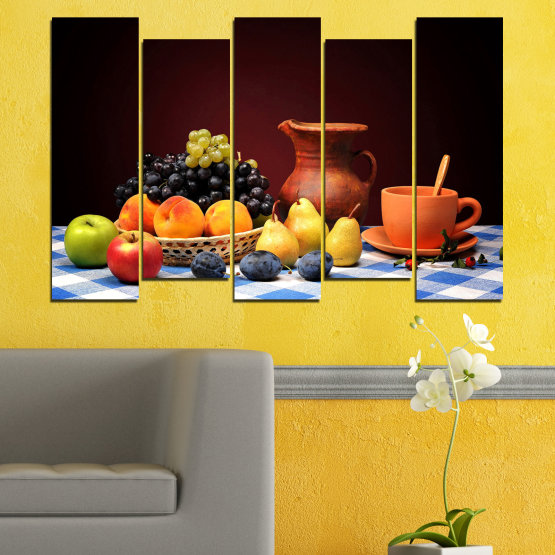 Canvas prints & wall decorative panels - 5 pieces №0740 » Red, Yellow, Orange, Black, White » Freshness, Kitchen, Food, Delicious, Fruit, Healthy Form #3