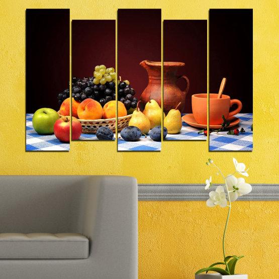 Декоративни панели и картини от канава - от 5 части №0740 » Червен, Жълт, Оранжев, Черен, Бял » Свежест, Кухня, Храна, Много вкусен, Плодове, Здрав Form #3