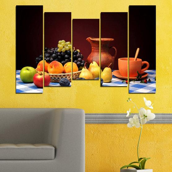 Декоративни панели и картини от канава - от 5 части №0740 » Червен, Жълт, Оранжев, Черен, Бял » Свежест, Кухня, Храна, Много вкусен, Плодове, Здрав Form #4