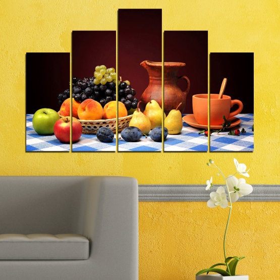 Canvas prints & wall decorative panels - 5 pieces №0740 » Red, Yellow, Orange, Black, White » Freshness, Kitchen, Food, Delicious, Fruit, Healthy Form #5
