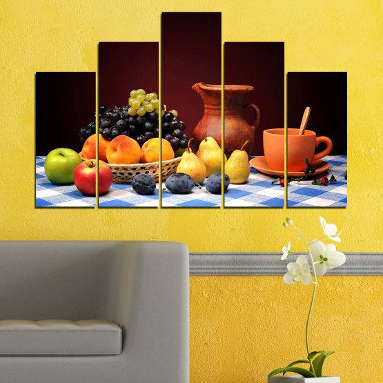 Декоративни панели и картини от канава - от 5 части №0740 » Червен, Жълт, Оранжев, Черен, Бял » Свежест, Кухня, Храна, Много вкусен, Плодове, Здрав Form #5