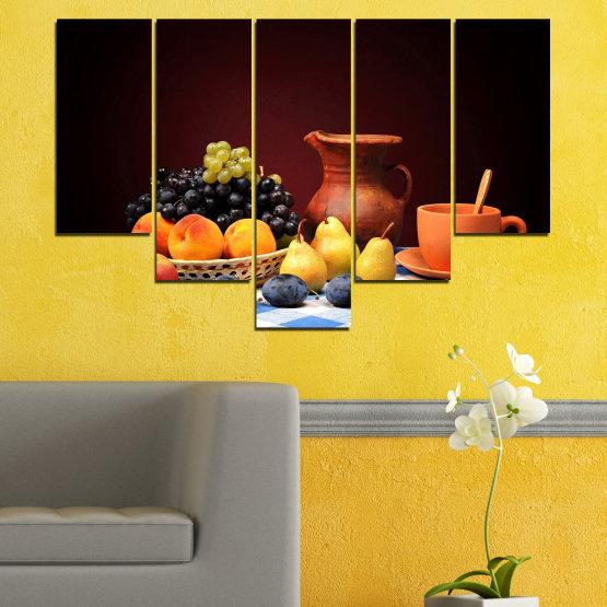 Декоративни панели и картини от канава - от 5 части №0740 » Червен, Жълт, Оранжев, Черен, Бял » Свежест, Кухня, Храна, Много вкусен, Плодове, Здрав Form #6
