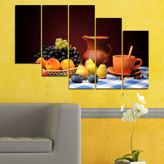 Декоративни панели и картини от канава - от 5 части №0740 » Червен, Жълт, Оранжев, Черен, Бял » Свежест, Кухня, Храна, Много вкусен, Плодове, Здрав Form #7