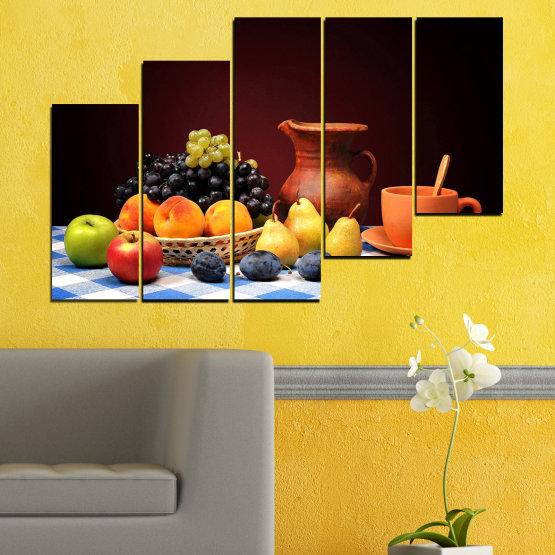 Декоративни панели и картини от канава - от 5 части №0740 » Червен, Жълт, Оранжев, Черен, Бял » Свежест, Кухня, Храна, Много вкусен, Плодове, Здрав Form #8