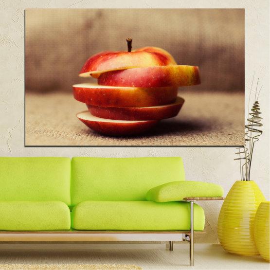 Εκτύπωση σε καμβά και διακοσμητικά πάνελ τοίχου - 1 τεμάχιο №0741 » Κόκκινος, Καστανός, Γκρί, Μπεζ » Φρέσκο, Μήλα, Τροφή, Πρωινο γευμα, Καρπός, Υγιής Form #1