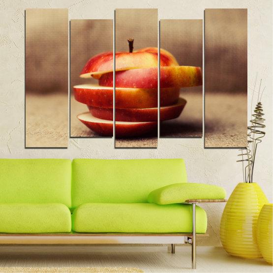 Декоративни панели и картини от канава - от 5 части №0741 » Червен, Кафяв, Сив, Бежов » Свеж, Ябълки, Закуска, Храна, Здрав, Плодове Form #3