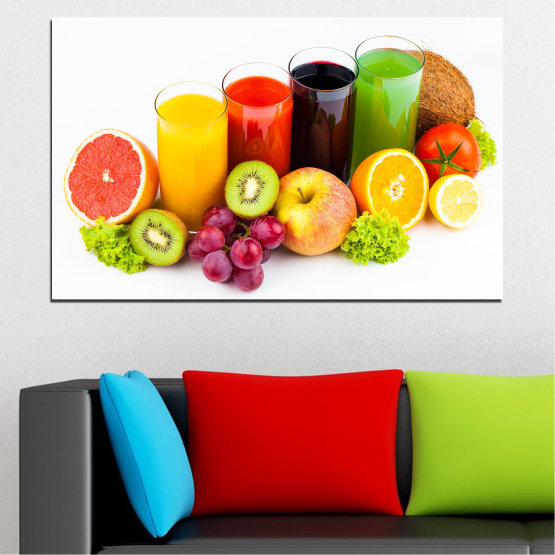 Canvas prints & wall decorative panels - 1 piece №0742 » Yellow, Orange, White, Beige » Freshness, Drink, Breakfast, Beverage, Healthy, Fruit, Organic, Delicious Form #1
