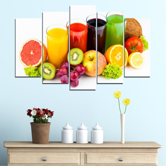 Canvas prints & wall decorative panels - 5 pieces №0742 » Yellow, Orange, White, Beige » Freshness, Drink, Breakfast, Beverage, Healthy, Fruit, Delicious, Organic Form #1