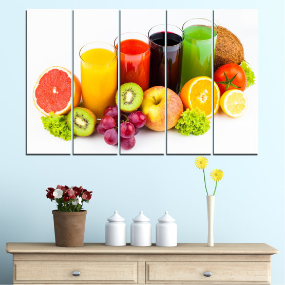 Canvas prints & wall decorative panels - 5 pieces №0742 » Yellow, Orange, White, Beige » Freshness, Drink, Breakfast, Beverage, Healthy, Fruit, Delicious, Organic Form #2