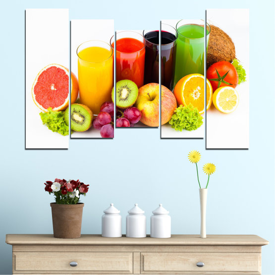 Canvas prints & wall decorative panels - 5 pieces №0742 » Yellow, Orange, White, Beige » Freshness, Drink, Breakfast, Beverage, Healthy, Fruit, Delicious, Organic Form #4