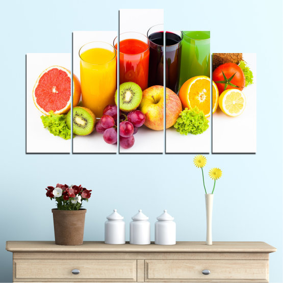 Canvas prints & wall decorative panels - 5 pieces №0742 » Yellow, Orange, White, Beige » Freshness, Drink, Breakfast, Beverage, Healthy, Fruit, Delicious, Organic Form #5