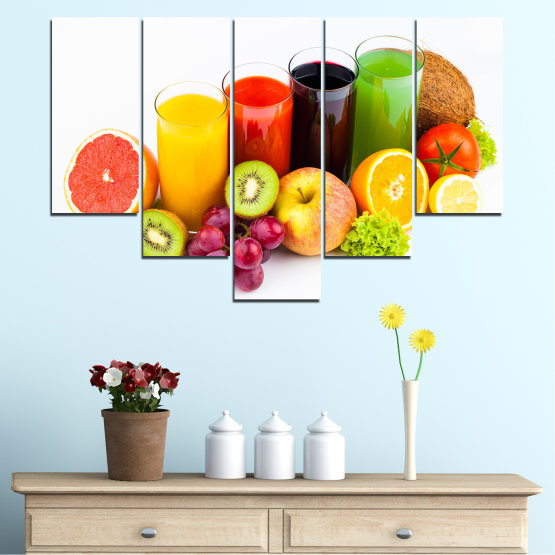 Canvas prints & wall decorative panels - 5 pieces №0742 » Yellow, Orange, White, Beige » Freshness, Drink, Breakfast, Beverage, Healthy, Fruit, Delicious, Organic Form #6