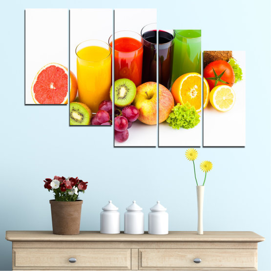 Canvas prints & wall decorative panels - 5 pieces №0742 » Yellow, Orange, White, Beige » Freshness, Drink, Breakfast, Beverage, Healthy, Fruit, Delicious, Organic Form #7