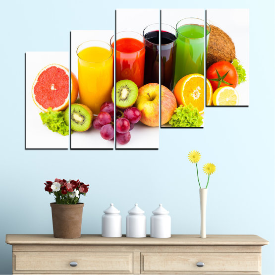 Canvas prints & wall decorative panels - 5 pieces №0742 » Yellow, Orange, White, Beige » Freshness, Drink, Breakfast, Beverage, Healthy, Fruit, Delicious, Organic Form #8
