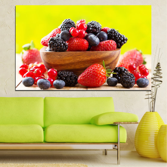 Canvas prints & wall decorative panels - 1 piece №0743 » Red, Yellow, Black, White, Beige » Fresh, Strawberries, Blueberries, Blackberries, Food, Delicious, Health, Dessert, Fruit, Healthy Form #1