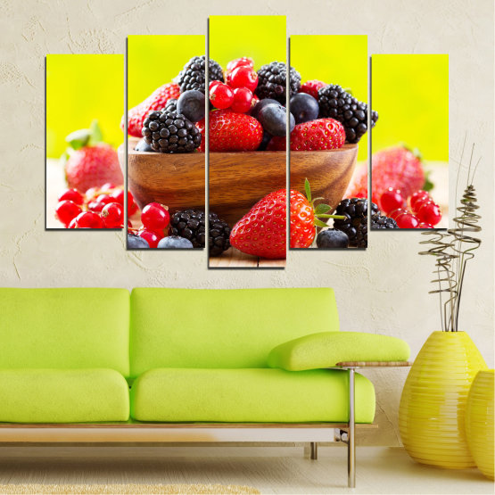 Canvas prints & wall decorative panels - 5 pieces №0743 » Red, Yellow, Black, White, Beige » Fresh, Strawberries, Blueberries, Blackberries, Healthy, Dessert, Food, Fruit, Delicious, Health Form #1