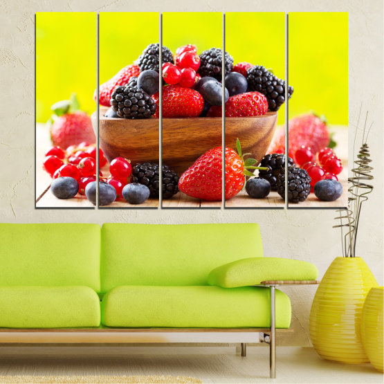 Canvas prints & wall decorative panels - 5 pieces №0743 » Red, Yellow, Black, White, Beige » Fresh, Strawberries, Blueberries, Blackberries, Healthy, Dessert, Food, Fruit, Delicious, Health Form #2
