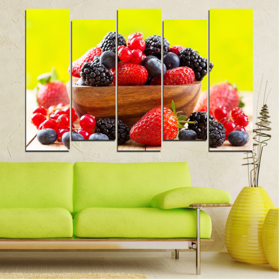 Canvas prints & wall decorative panels - 5 pieces №0743 » Red, Yellow, Black, White, Beige » Fresh, Strawberries, Blueberries, Blackberries, Healthy, Dessert, Food, Fruit, Delicious, Health Form #3