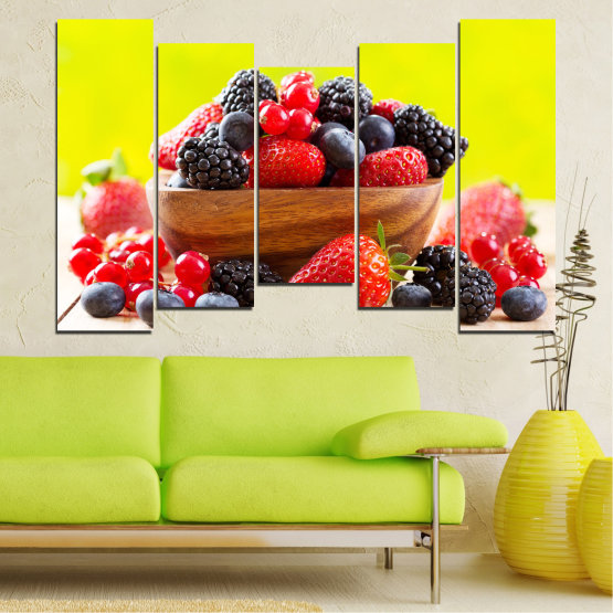 Canvas prints & wall decorative panels - 5 pieces №0743 » Red, Yellow, Black, White, Beige » Fresh, Strawberries, Blueberries, Blackberries, Healthy, Dessert, Food, Fruit, Delicious, Health Form #4