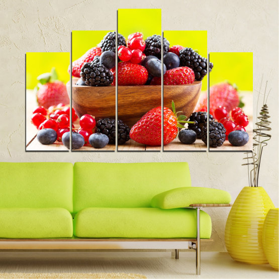 Canvas prints & wall decorative panels - 5 pieces №0743 » Red, Yellow, Black, White, Beige » Fresh, Strawberries, Blueberries, Blackberries, Healthy, Dessert, Food, Fruit, Delicious, Health Form #5
