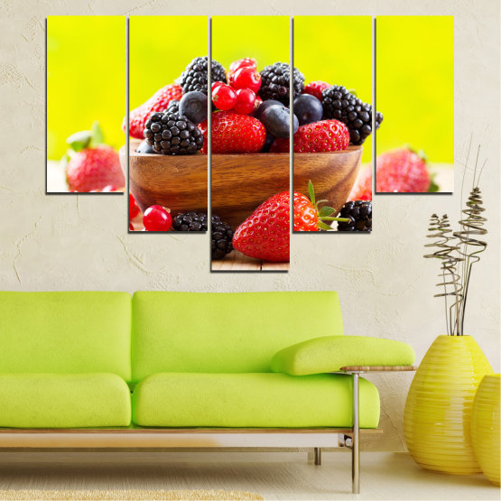 Canvas prints & wall decorative panels - 5 pieces №0743 » Red, Yellow, Black, White, Beige » Fresh, Strawberries, Blueberries, Blackberries, Healthy, Dessert, Food, Fruit, Delicious, Health Form #6