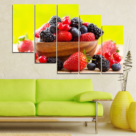 Canvas prints & wall decorative panels - 5 pieces №0743 » Red, Yellow, Black, White, Beige » Fresh, Strawberries, Blueberries, Blackberries, Healthy, Dessert, Food, Fruit, Delicious, Health Form #7