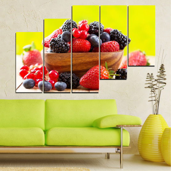 Canvas prints & wall decorative panels - 5 pieces №0743 » Red, Yellow, Black, White, Beige » Fresh, Strawberries, Blueberries, Blackberries, Healthy, Dessert, Food, Fruit, Delicious, Health Form #8