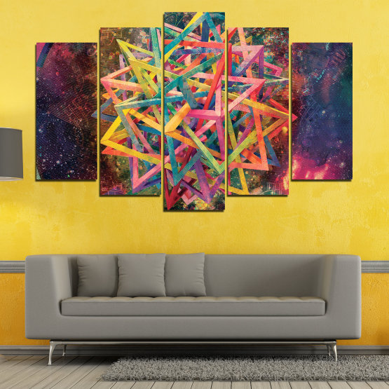 Canvas prints & wall decorative panels - 5 pieces №0744 » Pink, Purple, Turquoise, Yellow, Brown, Black, Gray, Dark grey » Abstraction, Decoration, Colorful, Modern, Design, Shape Form #1