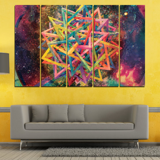 Canvas prints & wall decorative panels - 5 pieces №0744 » Pink, Purple, Turquoise, Yellow, Brown, Black, Gray, Dark grey » Abstraction, Decoration, Colorful, Modern, Design, Shape Form #2