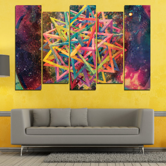 Canvas prints & wall decorative panels - 5 pieces №0744 » Pink, Purple, Turquoise, Yellow, Brown, Black, Gray, Dark grey » Abstraction, Decoration, Colorful, Modern, Design, Shape Form #3