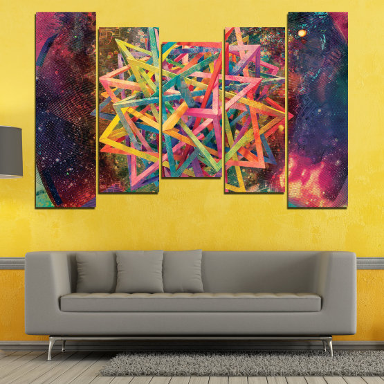 Canvas prints & wall decorative panels - 5 pieces №0744 » Pink, Purple, Turquoise, Yellow, Brown, Black, Gray, Dark grey » Abstraction, Decoration, Modern, Colorful, Design, Shape Form #4