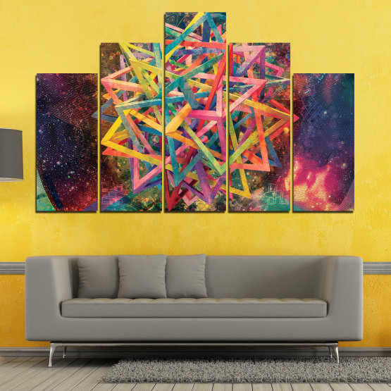 Canvas prints & wall decorative panels - 5 pieces №0744 » Pink, Purple, Turquoise, Yellow, Brown, Black, Gray, Dark grey » Abstraction, Decoration, Colorful, Modern, Design, Shape Form #5