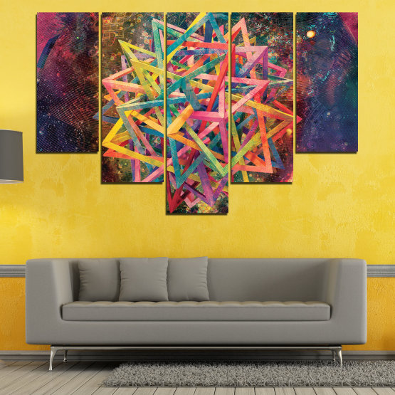 Canvas prints & wall decorative panels - 5 pieces №0744 » Pink, Purple, Turquoise, Yellow, Brown, Black, Gray, Dark grey » Abstraction, Decoration, Colorful, Modern, Design, Shape Form #6
