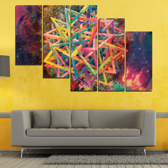 Canvas prints & wall decorative panels - 5 pieces №0744 » Pink, Purple, Turquoise, Yellow, Brown, Black, Gray, Dark grey » Abstraction, Decoration, Modern, Colorful, Design, Shape Form #7