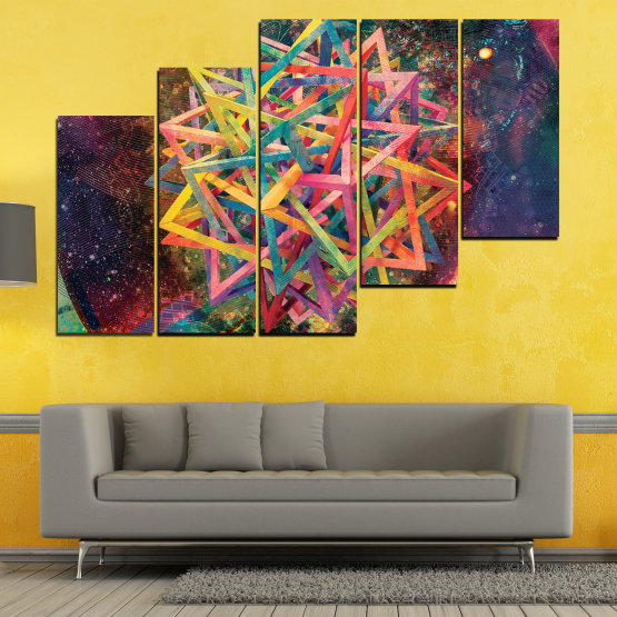 Canvas prints & wall decorative panels - 5 pieces №0744 » Pink, Purple, Turquoise, Yellow, Brown, Black, Gray, Dark grey » Abstraction, Decoration, Colorful, Modern, Design, Shape Form #8