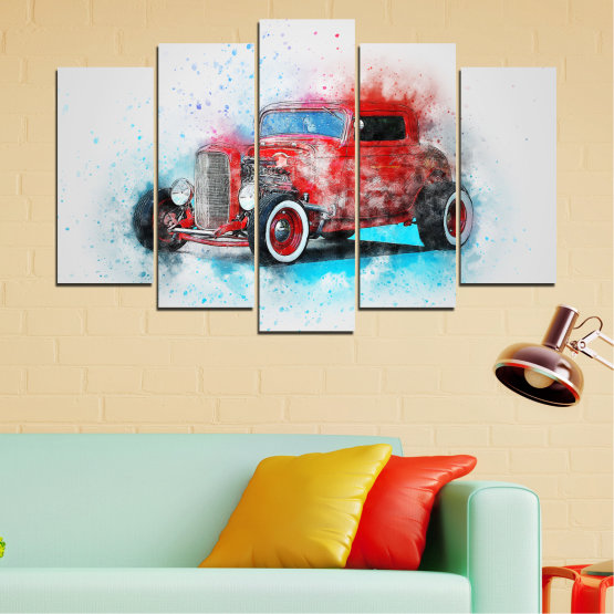 Canvas prints & wall decorative panels - 5 pieces №0745 » Red, Gray, White, Dark grey » Abstraction, Drawing, Car Form #1