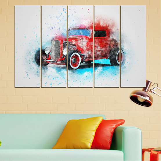 Canvas prints & wall decorative panels - 5 pieces №0745 » Red, Gray, White, Dark grey » Abstraction, Drawing, Car Form #2