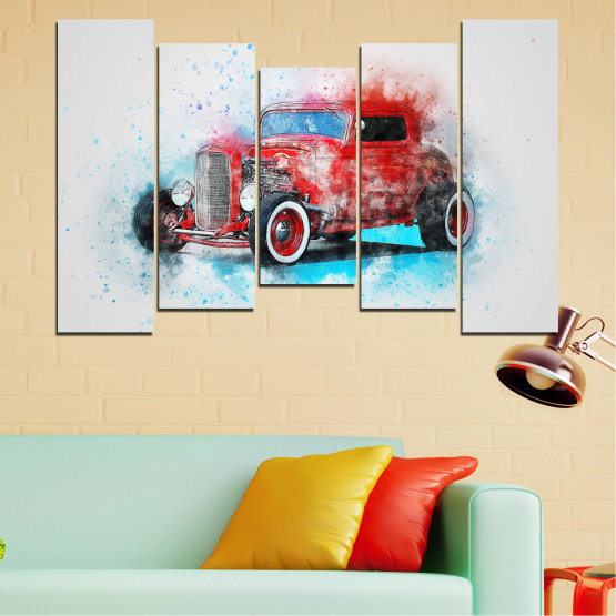 Canvas prints & wall decorative panels - 5 pieces №0745 » Red, Gray, White, Dark grey » Abstraction, Drawing, Car Form #4
