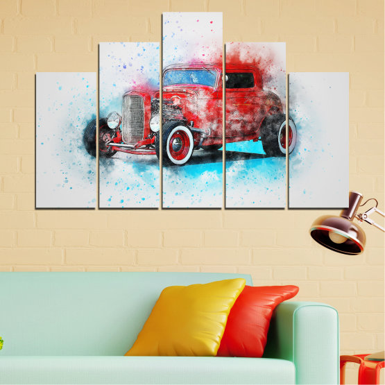 Canvas prints & wall decorative panels - 5 pieces №0745 » Red, Gray, White, Dark grey » Abstraction, Drawing, Car Form #5