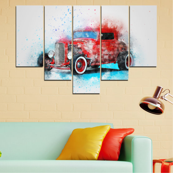 Canvas prints & wall decorative panels - 5 pieces №0745 » Red, Gray, White, Dark grey » Abstraction, Drawing, Car Form #6