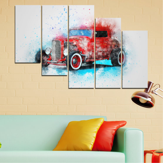 Canvas prints & wall decorative panels - 5 pieces №0745 » Red, Gray, White, Dark grey » Abstraction, Drawing, Car Form #7