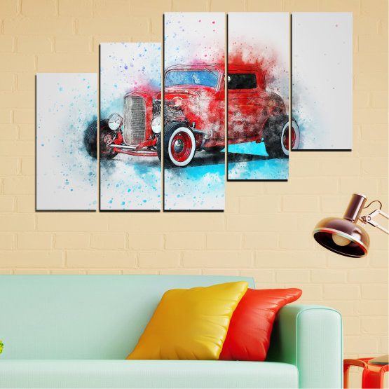 Canvas prints & wall decorative panels - 5 pieces №0745 » Red, Gray, White, Dark grey » Abstraction, Drawing, Car Form #8
