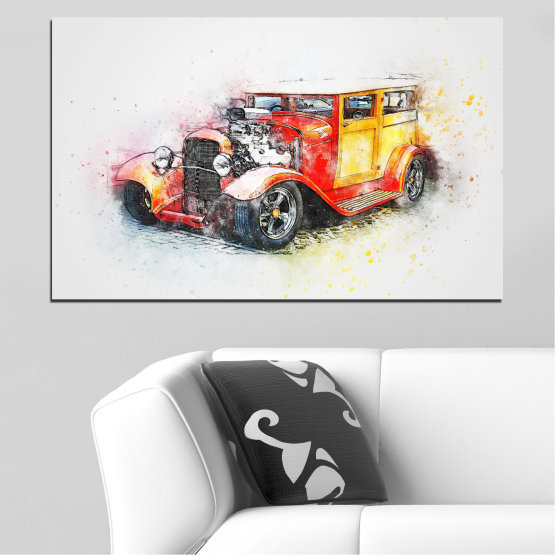 Canvas prints & wall decorative panels - 1 piece №0746 » Red, Yellow, Gray, White, Beige, Dark grey » Abstraction, Drawing, Car Form #1