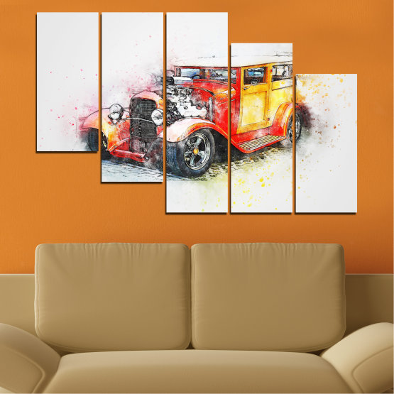 Canvas prints & wall decorative panels - 5 pieces №0746 » Red, Yellow, Gray, White, Beige, Dark grey » Abstraction, Drawing, Car Form #7