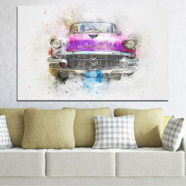 Abstraction, Drawing, Car » Purple, Gray, White, Beige, Dark grey