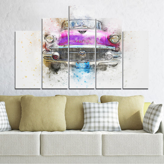 Canvas prints & wall decorative panels - 5 pieces №0747 » Purple, Gray, White, Beige, Dark grey » Abstraction, Drawing, Car Form #5