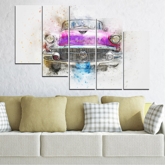 Canvas prints & wall decorative panels - 5 pieces №0747 » Purple, Gray, White, Beige, Dark grey » Abstraction, Drawing, Car Form #7