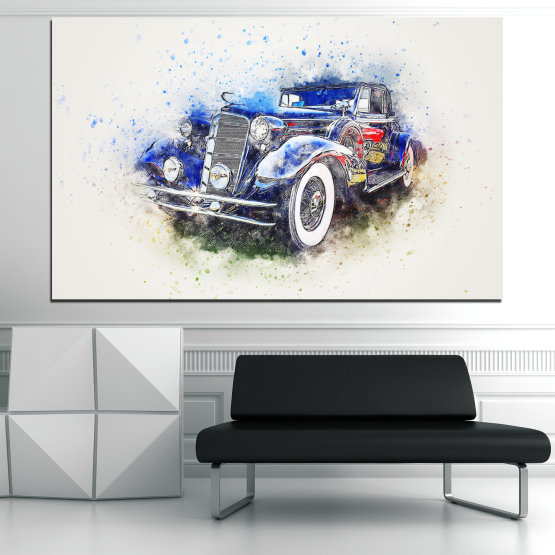 Canvas prints & wall decorative panels - 1 piece №0748 » Blue, Black, Gray, White, Dark grey » Abstraction, Drawing, Car Form #1